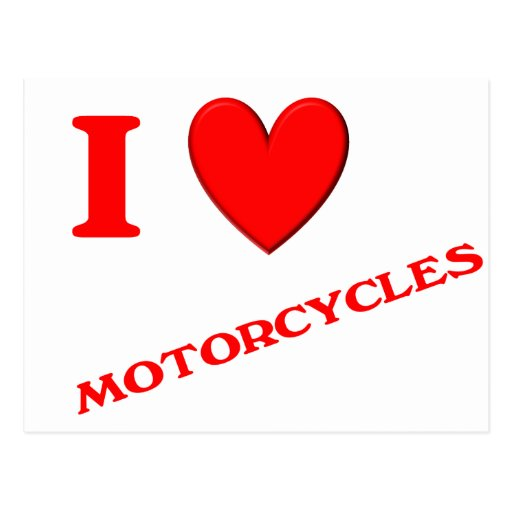 Eu amo motocicletas cartao postal
