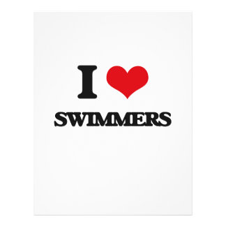 Eu amo nadadores modelos de panfleto