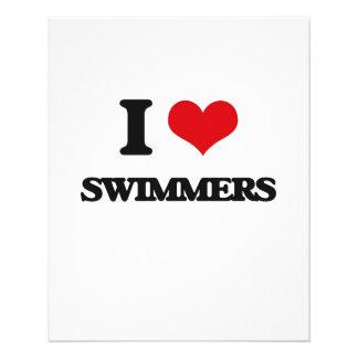 Eu amo nadadores panfletos personalizados
