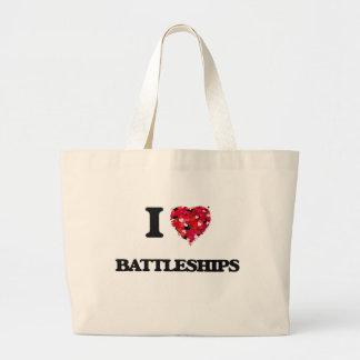 Eu amo navios de guerra sacola tote jumbo