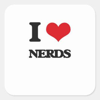Eu amo nerd adesivos quadrados