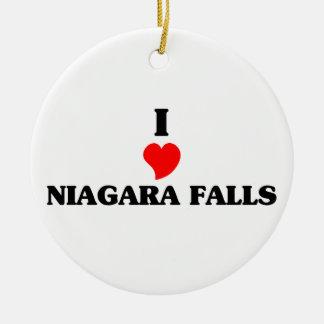 Eu amo Niagara Falls Ornamento De Cerâmica Redondo