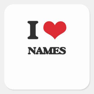 Eu amo nomes adesivos quadrados