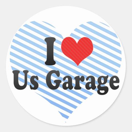 Eu amo-nos garagem adesivo em formato redondo