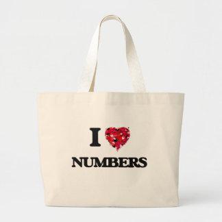 Eu amo números sacola tote jumbo