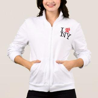 Eu amo NY (chinês) Jaqueta Estampada