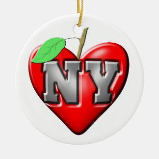 Eu amo NY Ornamento De Cerâmica Redondo