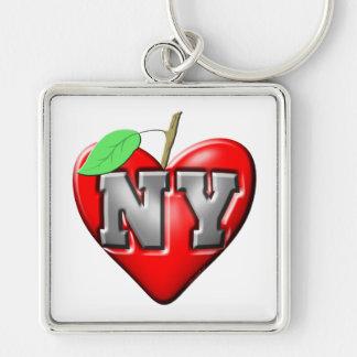 Eu amo NY Chaveiro Quadrado Na Cor Prata