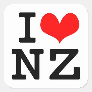 Eu amo NZ Adesivo Quadrado