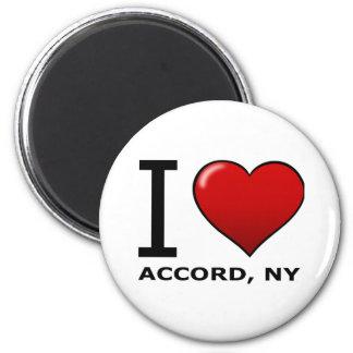 Eu amo o acordo, NY Ímã Redondo 5.08cm