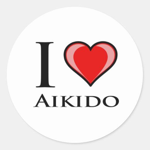 Eu amo o Aikido Adesivo Redondo