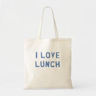 Eu amo o almoço bolsa tote