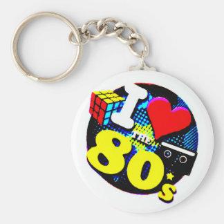 Eu amo o anos 80 chaveiro
