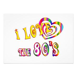 Eu amo o anos 80 convites personalizados