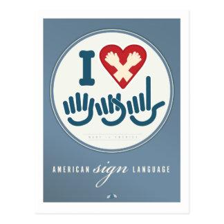 Eu amo o ASL Cartões Postais