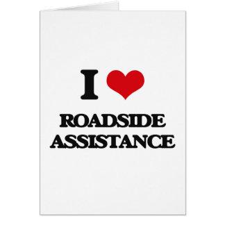 Eu amo o auxílio da borda da estrada cartão comemorativo