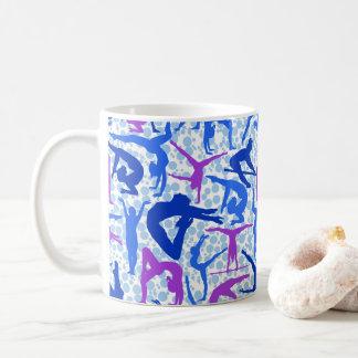 EU AMO o azul & o roxo da caneca de café da