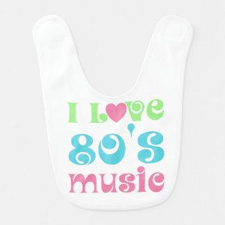 Eu amo o babador do bebê da música do anos 80