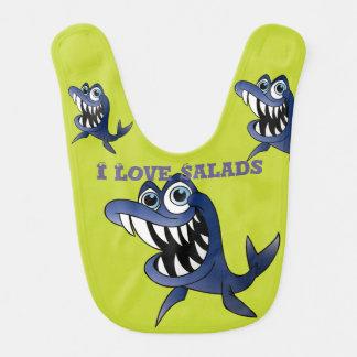 Eu amo o babador dos peixes do tubarão das saladas