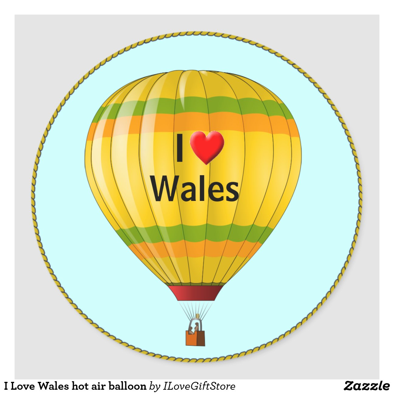 Adesivos De Caminhao Qualificados ~ Eu amo o bal u00e3o de ar quente de Wales Adesivo Zazzle