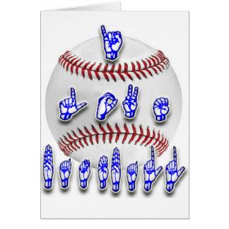 Eu amo o basebol - linguagem gestual cartao