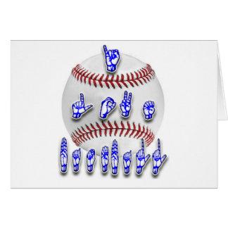 Eu amo o basebol - linguagem gestual cartão comemorativo