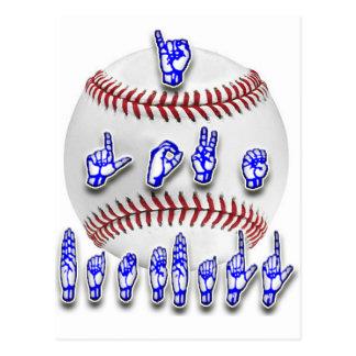 Eu amo o basebol - linguagem gestual cartão postal
