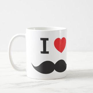 eu amo o bigode caneca de café