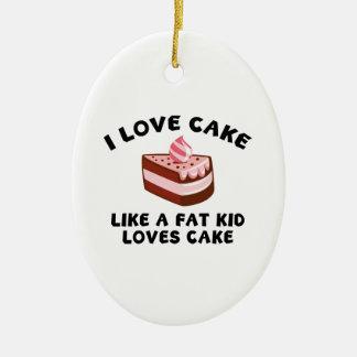 Eu amo o bolo como um bolo dos amores do miúdo da ornamento de cerâmica oval
