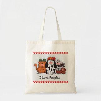 Eu amo o bolsa dos filhotes de cachorro