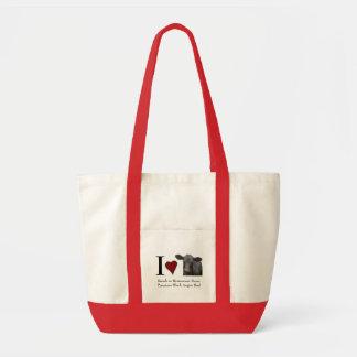 Eu amo o bolsa preto do carregando da carne da car