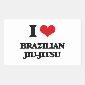 Eu amo o brasileiro Jiu-Jitsu Adesivos Em Formato Retangulares