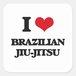 Eu amo o brasileiro Jiu-Jitsu Adesivo Em Forma Quadrada