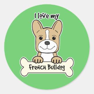 Eu amo o buldogue francês adesivo