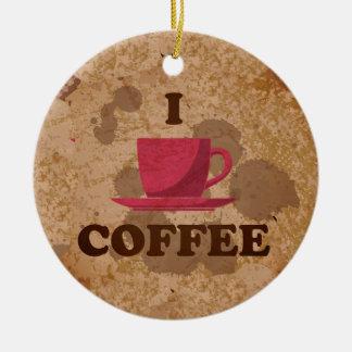 Eu amo o café ornamento de cerâmica