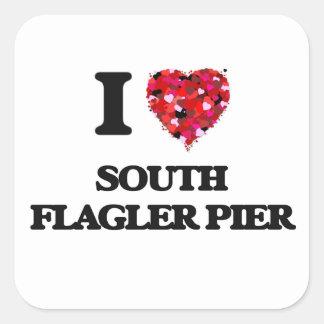 Eu amo o cais sul Florida de Flagler Adesivo Quadrado