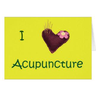 Eu amo o cartão bem-vindo da acupunctura