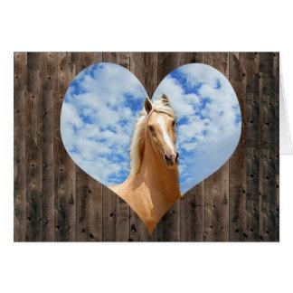 Eu amo o cartão de nota dos cavalos
