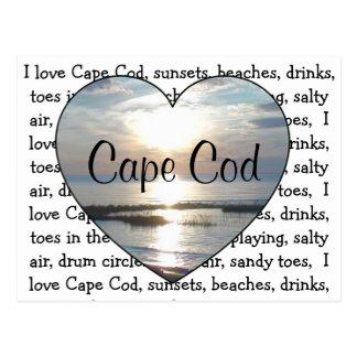 Eu amo o cartão do coração da praia de Cape Cod