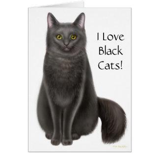 Eu amo o cartão dos gatos pretos