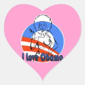 Eu amo o cervo cor-de-rosa de Obama Adesivo Em Forma De Coração