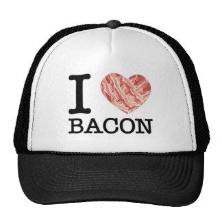 Eu amo o chapéu do camionista do bacon boné