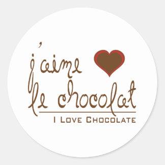 Eu amo o chocolate, em francês! adesivo