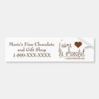 Eu amo o chocolate, em francês! adesivo para carro
