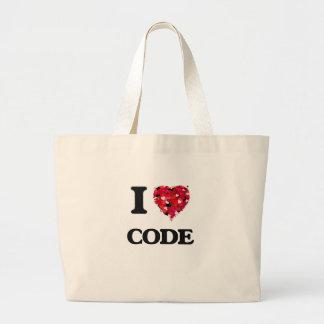 Eu amo o código sacola tote jumbo