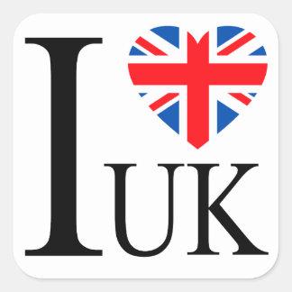 Eu amo o coração BRITÂNICO da bandeira de Grâ Adesivo Quadrado