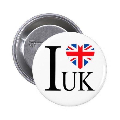 Eu amo o coração BRITÂNICO da bandeira de Grâ Bret Pins