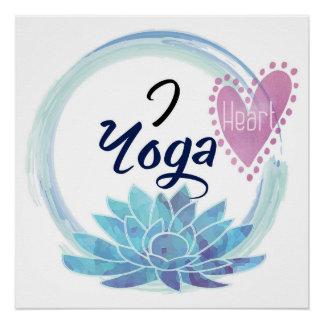 Eu amo o coração do azul do rosa da meditação do poster perfeito
