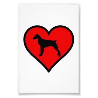 Eu amo o coração do vermelho da silhueta do cão do impressão de foto
