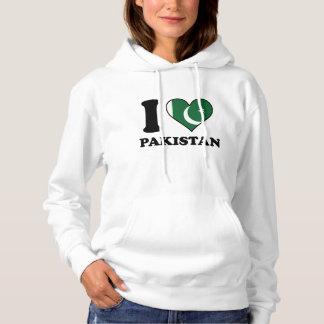 Eu amo o coração paquistanês da bandeira de moletom